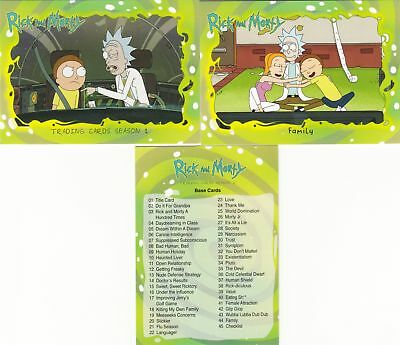 2018 Cryptozoic Rick And Morty Complete Base Set (45 Cards) w/ wrappers