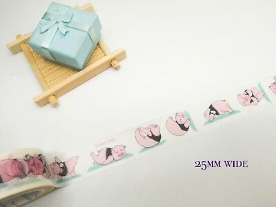 Washi Tape 25mm Wide Unicorn Hippos Pigs Monkeys Sold by meter