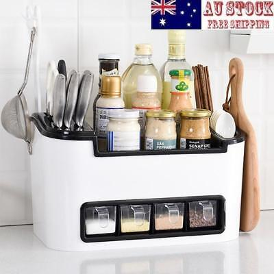 Multi-function Kitchen Seasoning Box Set Oil Bottle Cutter Plastic Storage Rack