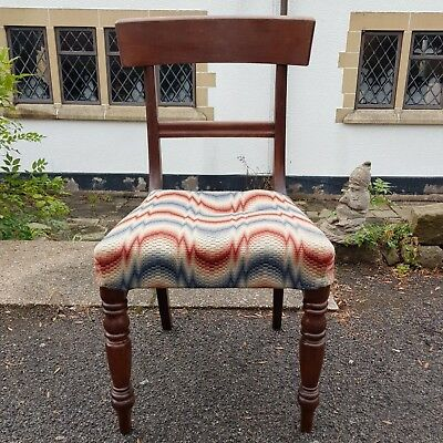 An Antique Mahogany Bar Back Feature Chair with Funky Fabric Seat & Turned Legs
