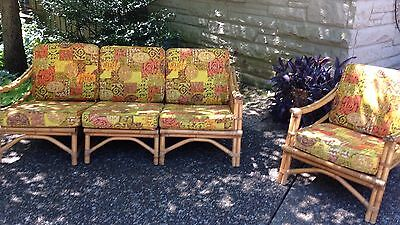 Rattan Sofa Couch Chair Set Wicker Reed Calif Asia Vintage