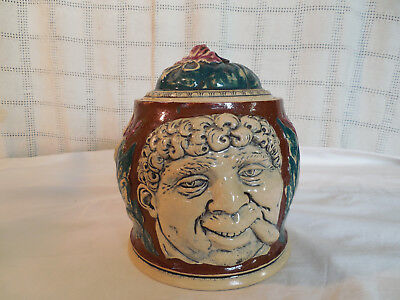 Vintage German three face ceramic tobacco jar canister #554