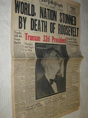 Lot 2 EDITIONS WWII Pittsburgh Sun Newspaper DEATH FDR PRESIDENT ROOSEVELT 1945