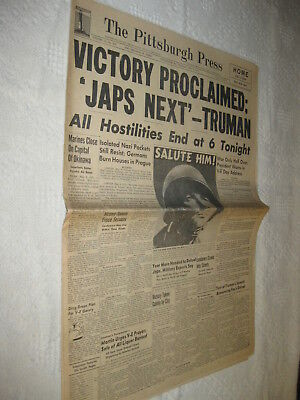 WWII Pittsburgh Press Newspaper VE DAY VICTORY PROCLAIMED w/ photos 1945