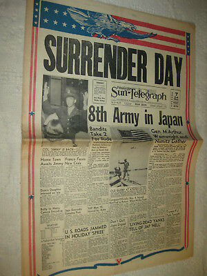 WWII Pittsburgh Sun Newspaper JAPANESE SURRENDER w/ Photos & Poster 1945