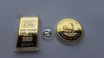 2016 1oz Gold South Africa Krugerrand EP .and 999 silver 1 gram coin-.
