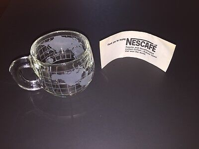 Nestle Nescafe Glass World Clear Etched Glass Mug Coffee Cup