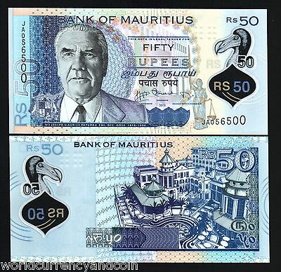 Mauritius 50 Rupees P65 2013 Polymer *ja* Dodo Justice Unc Currency Note 20 Pcs