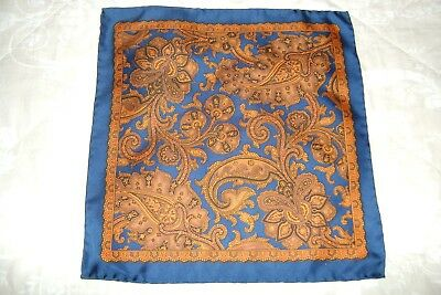 "Hand made Macclesfield silk square 12"" hand rolled navy and orange Paisley"