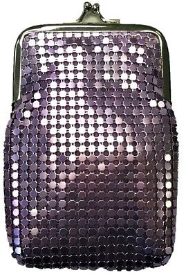 Eclipse Purple Luxury Mesh Sequin Cigarette Case Pouch, Coin Purse, Kings, 3232