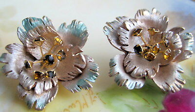 Vintage Pair of Round Gold Tone Flower  Painted Earrings With Amber Rhinestones