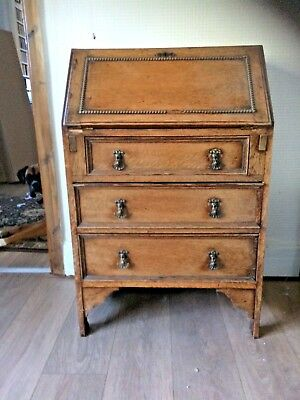 Antique Oak writing bureau . 3 drawers all original. Can deliver many areas