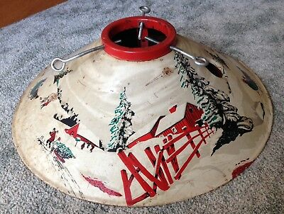 Vintage Christmas Tree Stand Horse Sleigh Barn Snow Lithograph 1950s
