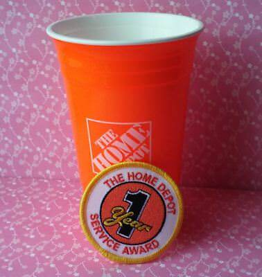 The Home Depot Sturdy Plastic Orange Cup & 1 Year Iron-On Patch Accessories New