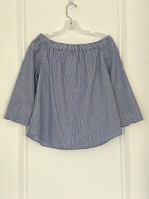 21930a84bbb25f ZARA WOMAN Striped Blue White Off the Shoulder Shirt Top 3 4 Sleeve Womens  Sz