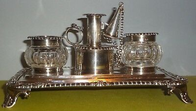 MUSEUM FIND 1827 LONDON STERLING SILVER inkwell DESK SET by EMES & BARNARD-NMint
