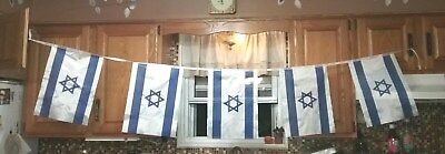 "Vintage Israel Flag Banner 6'6"" long Each Flag 15"" Banner of Israeli Flags"