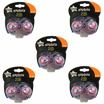 5x TOMMEE TIPPEE Explora 6-18 month Baby Girl BPA Free Latex Cherry Teat Soother