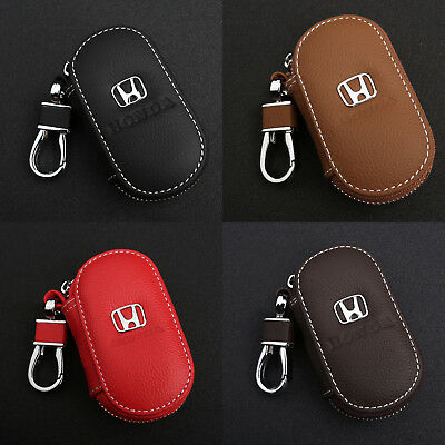 New For Honda Car Key Chain Leather Coin Holder Zipper Case Remote