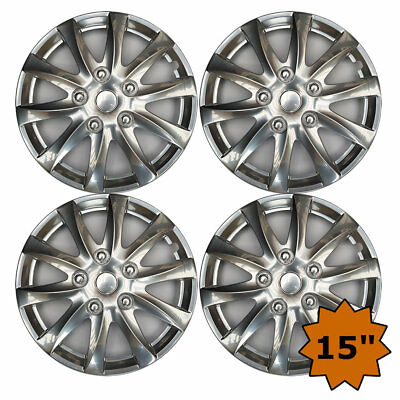 Chrome Alloy Sport Look Set 4 X 15 Inch Wheel Cover Trim Hub Cap 15