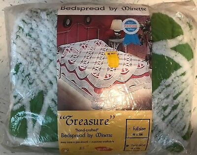 """VTG """"TREASURE"""" """"HAND CRAFTED"""" TWIN BEDSPREAD by MINETTE - COTTON POLY - ORIG PKG"""