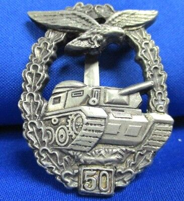German WW2  50 Battle Tank Service Badge With Makers Mark...
