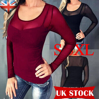 UK Ladies Womens Long Sleeve Sheer Mesh SEE THROUGH Plain Top T-Shirt Plus 10-24