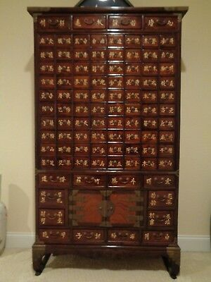 Chinese 96 Drawers Reproduction Apothecary Medicine Herbal Cabinet Fm S.  Korea