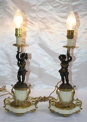"Magnificent 19C French Pair Of Bronze Marble Lamps ""Must See"""