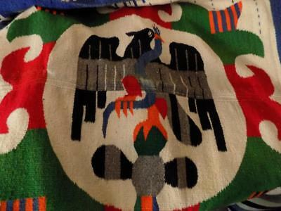 """Vntg MEXICAN WOOL BLANKET, Eagle & Snake Pattn, c.1960s, 30 x 76"""""""