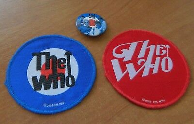 2 x THE WHO FABRIC PATCHES & 1 PLASTIC BADGE.