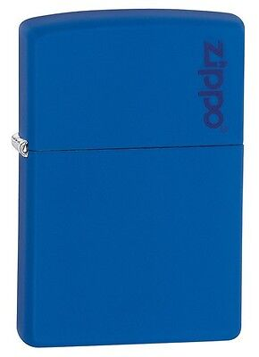 Zippo 229ZL, Logo, Royal Blue Matte Lighter,  **6 Extra Flints & Wick**