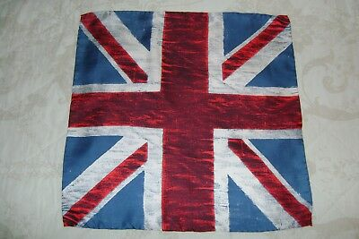 "Hand made Macclesfield 100% silk pocket square 16"" hand rolled union jack flag"