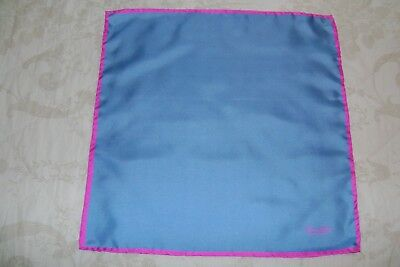 "Hand made Macclesfield silk pocket square 17"" hand rolled blue and pink plain"