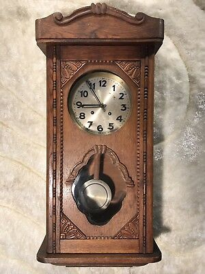 Rare Collectible Vintage Antique Germany Strikes Wall Pendulum Clock Working