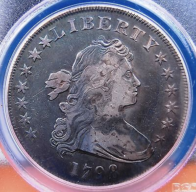 1798 Large Eagle Dollar Pcgs Genuine Vf Details Cleaned