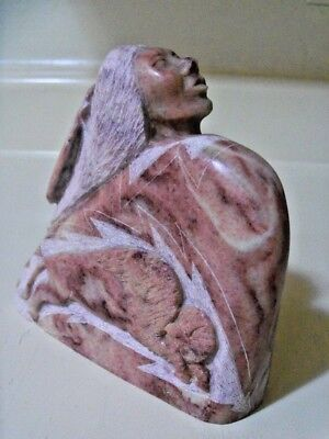 Navajo Made, Buffalo Hunter Sculpture, Hand Carved of Alabaster, Will Hatch Jr