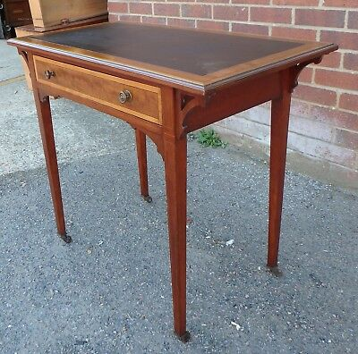 Victorian antique solid mahogany compact 1 drawer writing dressing table desk