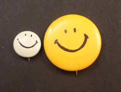 Vintage Smiley Face Pinback Buttons - Lot of 2