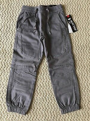 NWT Boy's LR Scoop Medium Gray Moto Quilted Detail Jogger Pants ALL SIZES 4-7