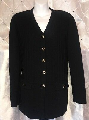 St John Collection Marie Gray Black Ribbed Santana Knit Jacket 12