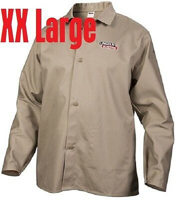 Lincoln Electric XX-Large Khaki Flame-Resistant Cloth Welding Jacket Shirt XXL