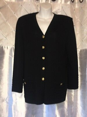 St John Collection Marie Gray Santana Knit Black Jacket Gold Buttons M