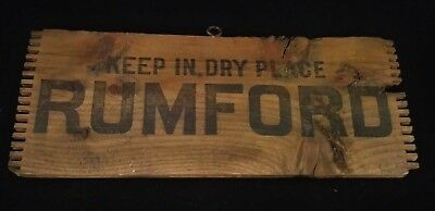 Vtg Rumford Baking Powder Wooden Shipping Crate Panel  Keep In Dry Place Sign