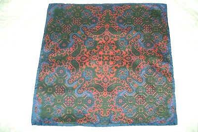 "Hand made Macclesfield silk square 17"" hand rolled red & navy Mughal design"