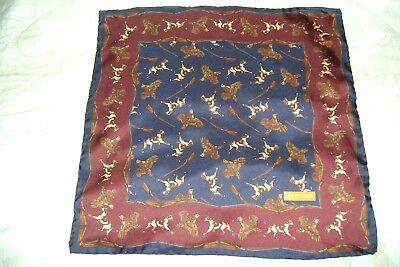 "Hand made Macclesfield silk square 17"" hand rolled red navy hunting"