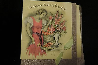 Vintage ART DECO Daughter Easter Card c. 1930s by: rust craft  artist signed