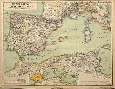 1892 Map Spain Mauretania North Africa Balearic Numidia Tarraconensis