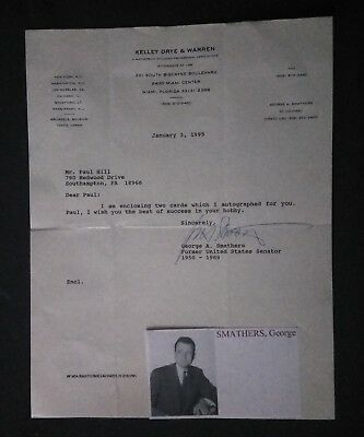 George A. Smathers Hand Signed Letter...American Lawyer+Politician