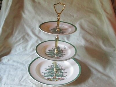 Vintage SPODE England CHRISTMAS TREE Pattern Handled Three Tier Serving Plate